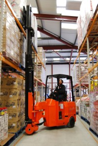 Specialized Freight - Man Using Forklift to Take Pallets off Top Rack in a Warehouse