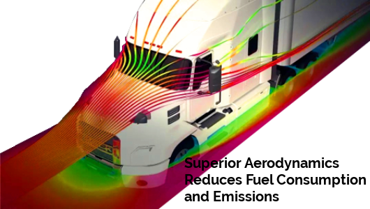 Image of awhite truck and the airlow aound the truck with the caption, Superior Aerodynamics Reduces Fuel Consumption and Emissions